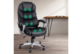 Artiss 8 Point Heated Massage Office Chair Vibration Executive Computer Black