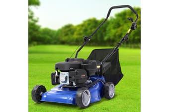 """Lawn Mower 4 Stroke 17"""" inch Petrol Lawn Mowers Petrol Powered Hand Push Engine Lawnmower Catch Steel Deck 139cc"""