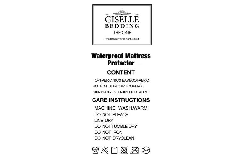 Giselle Bedding Waterproof Mattress Protector Bamboo Fibre Double Fully Fitted Bed Pad Cover