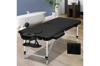 Zenses 75cm Portable Aluminium Massage Table 2 Fold Black Treatment Beauty