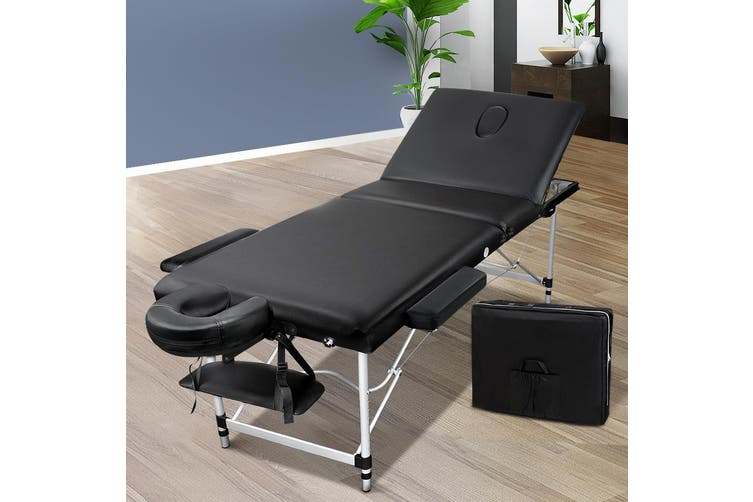 Zenses 60CM Wide Portable Aluminium Massage Table 3 Fold Beauty Bed Therapy Waxing Black