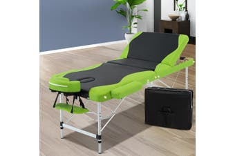 Zenses Aluminium Portable Massage Table 3 Fold Beauty Therapy Bed Waxing 75cm