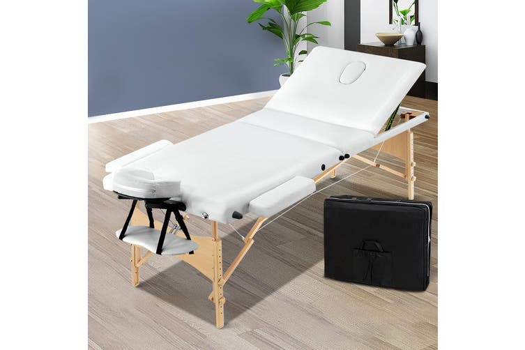 Zenses 70CM Wide Wooden Portable Massage Table 3 Fold Beauty Bed Therapy Waxing White