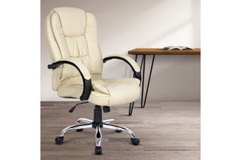 Artiss Office Chair Computier Gaming Chair Executive Leather Chairs Beige