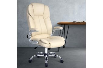 Artiss Executive Premium Office Chair Meeting Arm Chairs Leather Seating Beige