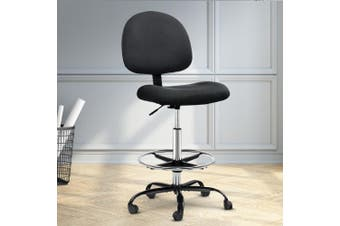 Artiss Office Chair Veer Drafting Chairs Stool Computer Chair Footrest Black