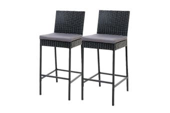Gardeon Outdoor Bar Stool Dining Chair Bar Stools Rattan Furniture Patio X2
