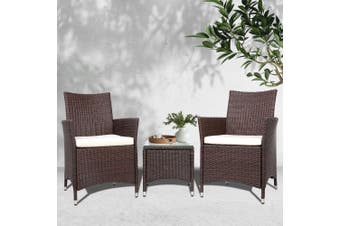 Gardeon Patio Furniture Outdoor Setting Bistro Set Chair Table 3 Piece Rattan