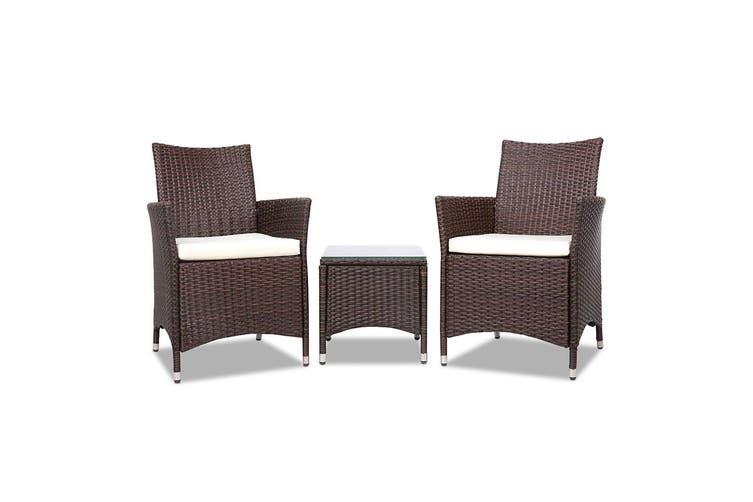 Gardeon Patio Furniture Outdoor Setting Bistro Set Chair Table 3 Piece Rattan