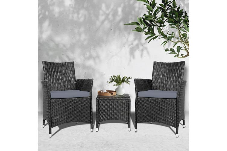 Gardeon Patio Furniture Outdoor Furniture Set Chair Table Garden Wicker Black Matt Blatt