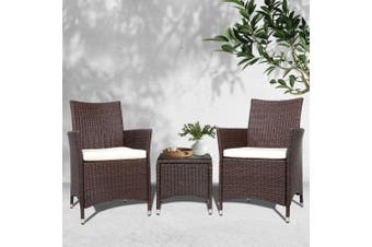 Gardeon Patio Furniture Outdoor Furniture Set Chair Table Garden Wicker Brown