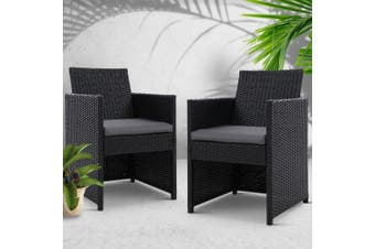 Gardeon Patio Furniture Outdoor Dining Chairs Setting Wicker Cushion x2