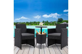 Gardeon Outdoor Furniture Wicker Chairs Bar Table Cooler Ice Bistro Set Bucket Patio Coffee