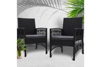 Gardeon 2x Outdoor Furniture Dining Chairs Rattan Garden Patio Cushion Black
