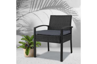 Gardeon Outdoor Furniture Rattan Chair Bistro Wicker Garden Patio Cushion Black