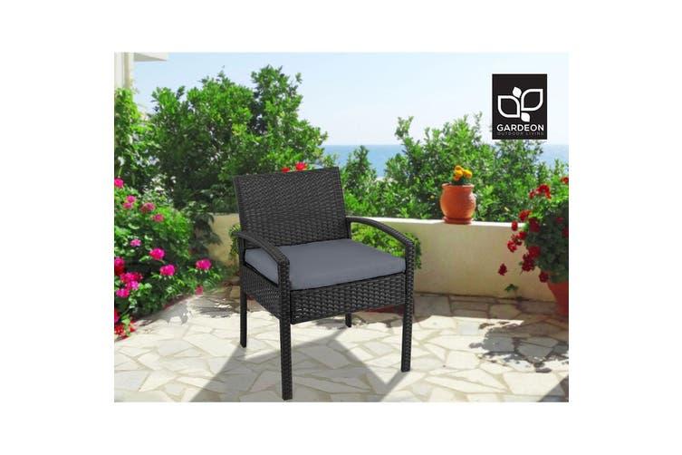 Gardeon Outdoor Furniture Rattan Chair Bistro Wicker Garden Patio Cushion Black