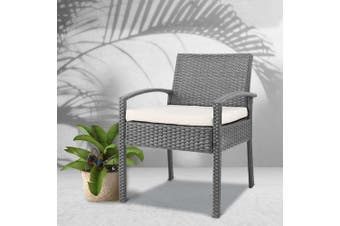Gardeon Outdoor Furniture Rattan Chair Bistro Wicker Garden Patio Cushion Grey