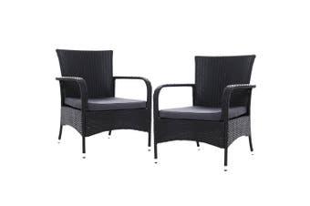 Gardeon 2x XL Outdoor Dining Chairs Bistro Patio Furniture Chair Wicker Garden