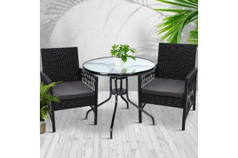Gardeon Outdoor Furniture Dining Chairs Rattan Garden Patio Cushion Black 3PCS Tea Coffee Cafe Bar Set