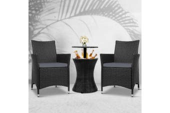Gardeon Outdoor Furniture Wicker Chairs Bar Table Cooler Ice Bucket Patio Coffee Bistro Set