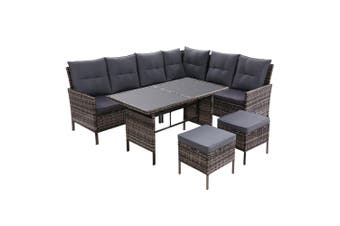 Outdoor Sofa Set Patio Furniture Lounge Setting Dining Chair Table Grey