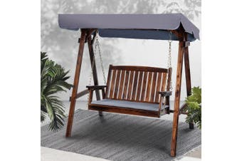Gardeon Outdoor Furniture Swing Chair Wooden Garden Bench Hammock Canopy