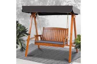 Gardeon Outdoor Swing Chair Wooden Garden Bench Hammock Canopy Outdoor Furniture