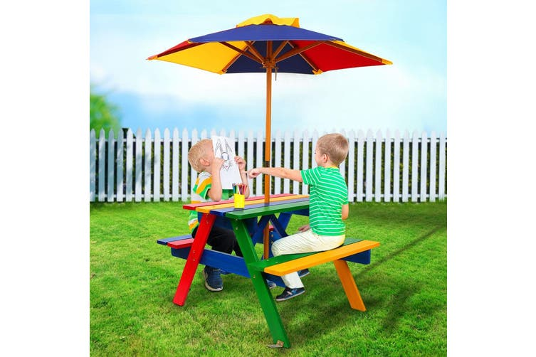 Keezi Kids Table And Chairs Colourful, Childrens Outdoor Furniture With Umbrella