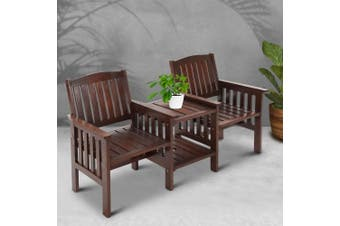Gardeon Wooden Garden Bench Seat Table Loveseat Outdoor Patio Furniture Park