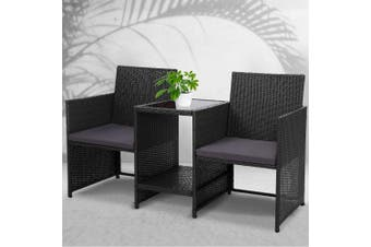 Gardeon Outdoor Setting Wicker Loveseat Bistro Set Patio Garden Furniture Black