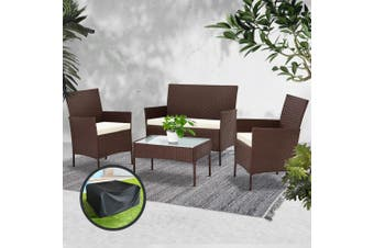 Gardeon Garden Furniture Outdoor Lounge Setting Rattan Set Patio Storage Cover