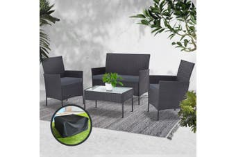 Gardeon Garden Furniture Outdoor Lounge Setting Wicker Sofa Patio Storage cover