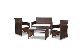 Gardeon Garden Furniture Outdoor Lounge Setting Wicker Sofa Set Patio Brown