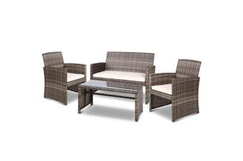 Gardeon Outdoor Furniture Outdoor Lounge Setting Wicker Sofa Set Patio Mixed Grey Gardeon 4PCS Mixed Grey