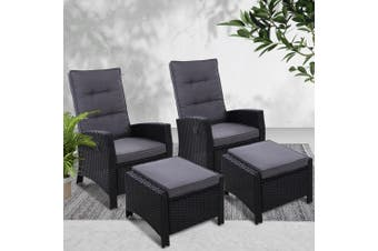 Gardeon 2PC Sun lounge Recliner Chair Wicker Lounger Sofa Day Bed Outdoor Chairs Patio Furniture Garden Cushion Ottoman Black