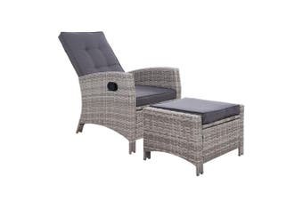 Gardeon Sun lounge Recliner Chair Wicker Lounger Sofa Day Bed Outdoor Furniture Patio Garden Cushion Ottoman Grey