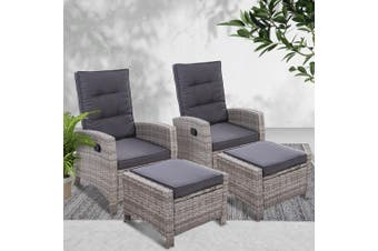 Gardeon2PC Sun lounge Recliner Chair Wicker Lounger Sofa Day Bed Outdoor Chairs Patio Furniture Garden Cushion Ottoman Grey