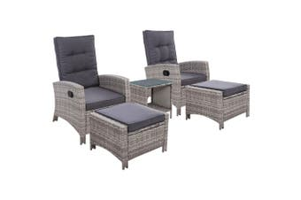 Gardeon Outdoor Patio Furniture Recliner Chairs Table Set Wicker Sofa Lounge 5pc