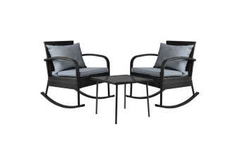 Gardeon Outdoor Furniture Rocking Chair Wicker Garden Patio Lounge Setting Black