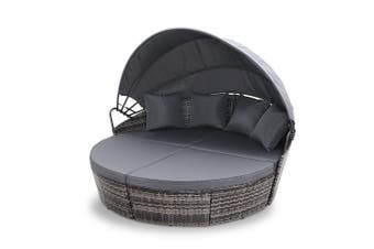 Gardeon Extra Large Outdoor Lounge Day Sofa Bed With Folding Canopy Shade GREY Seat PE Wicker Waterproof Thick Seat Cushion Modular Design