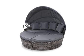 Gardeon Extra Large Outdoor Lounge Day Sofa Bed Rounded With Folding Canopy Shade GREY Seat PE Wicker Waterproof Thick Seat Cushion Modular Design