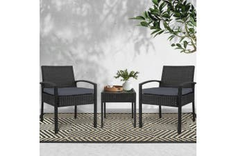 Gardeon Patio Furniture 3 Piece Wicker Outdoor Lounge Setting Rattan Set Cushion