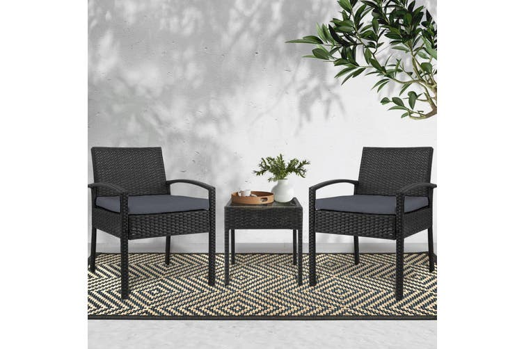 3 Piece Wicker Outdoor Lounge Setting