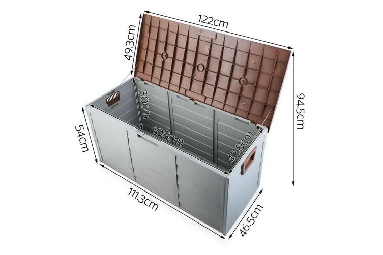 Outdoor Storage Box Garden Shed Toy Tool Weatherproof Lockable 290LBrown