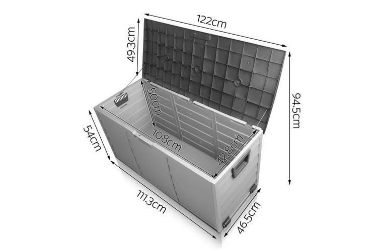 290L Outdoor Storage Lockable Box Weatherproof Garden DeckToy Shed BLACK