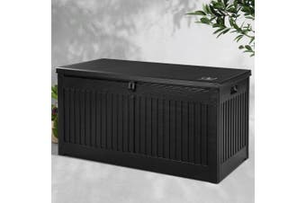 Gardeon Outdoor Storage Box Container Garden Toy Indoor Tool Chest Sheds 270L - Black