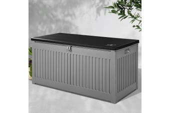 Gardeon Outdoor Storage Box Container Garden Toy Indoor Tool Chest Sheds 270L - Dark Grey