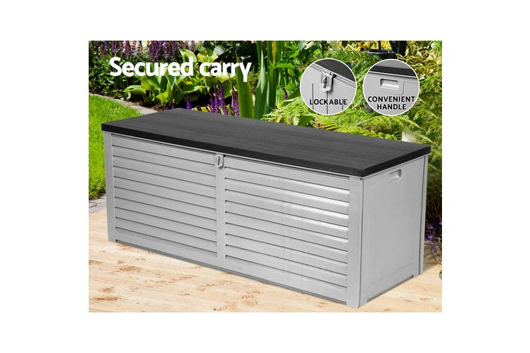 Outdoor Storage Box Bench Seat Indoor Garden Toy Tool Sheds Chest 390L