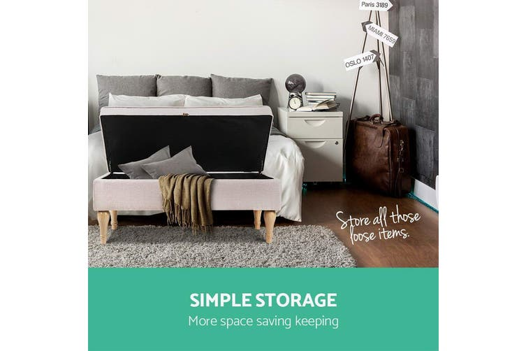 Artiss Fabric Linen Ottoman Storage Top Seat Cushion Blanket Box Bench Detachable legs Multi function BEIGE