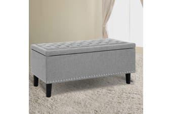 Artiss Sleek Linen Fabric Ottoman Storage Top Seat Cushion Blanket Box Bench Foot stool Light Grey